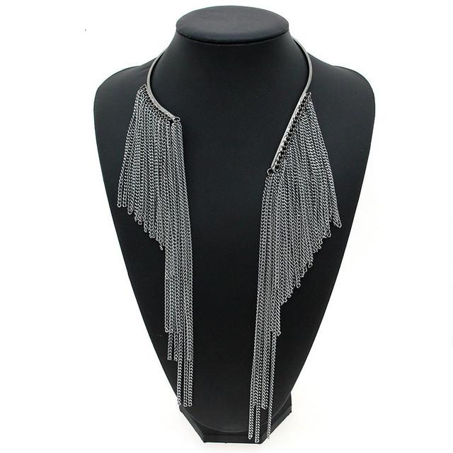 Exquisite Tassel Embellished Torque Necklace