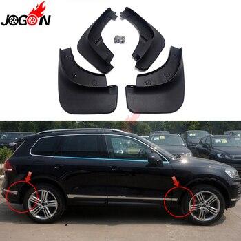 Dla VW Volkswagen Touareg R-line MK2 2012-2018 z przodu samochodu i tylny błotnik błotnik Splash Guards błotniki błotnik 4 sztuk czarny