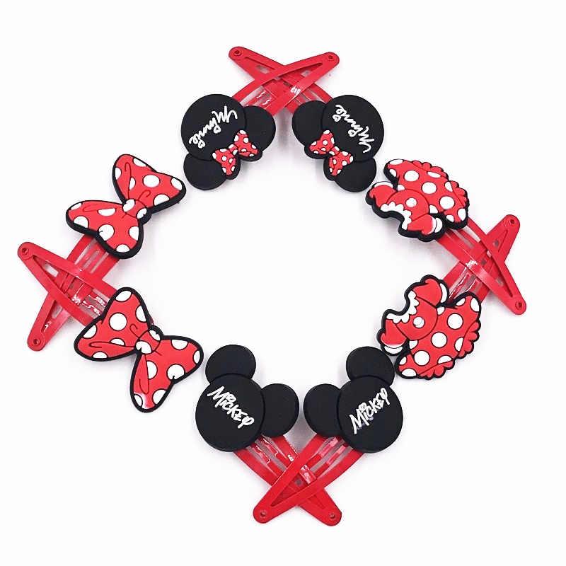 16 Pcs Mickey Minnie mouse arco nó faixas de Cabelo elásticos Acessórios Para o Cabelo meninas grampos de cabelo decoração presente dos desenhos animados cabeça envoltório