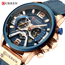 CURREN Casual Sport Watches for Men Blue Top Brand Luxury Military Leather Chronograph Wrist Watch Man Clock Fashion 8329