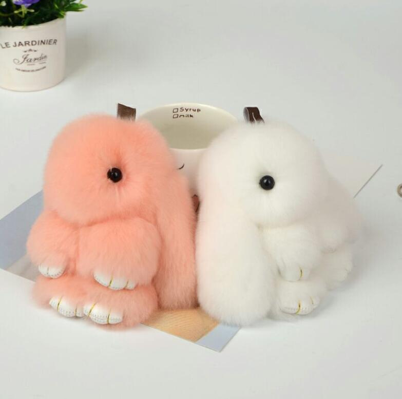 Shuangshuo 15CM Rex Fur Rabbit Couple Keychain Pendant Charm Bunny Keychains For Women Fur Bag Key Rings Fashion Jewelry YSK022 ...