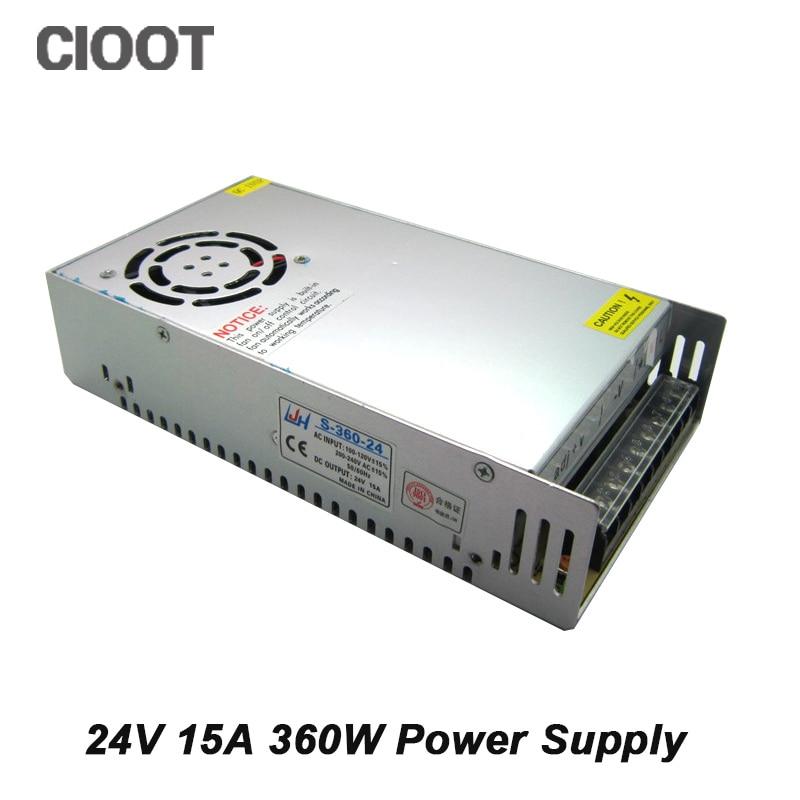 24V Power Supply 360W Switch Led Supply 15A AC 100-240V Input to DC 24V Power Transformer By Free Shipping high quality 1pcs lot free shipping 360w dc24v 15a non waterproof led power supply 24v transformer