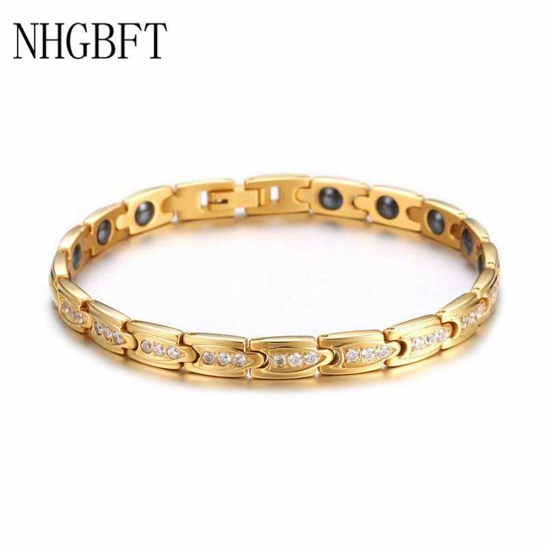 NHGBFT Stainless Steel Magnetic Bracelet for Women mens Gold Color Germanium Energy Bracelets Male Hand Chain