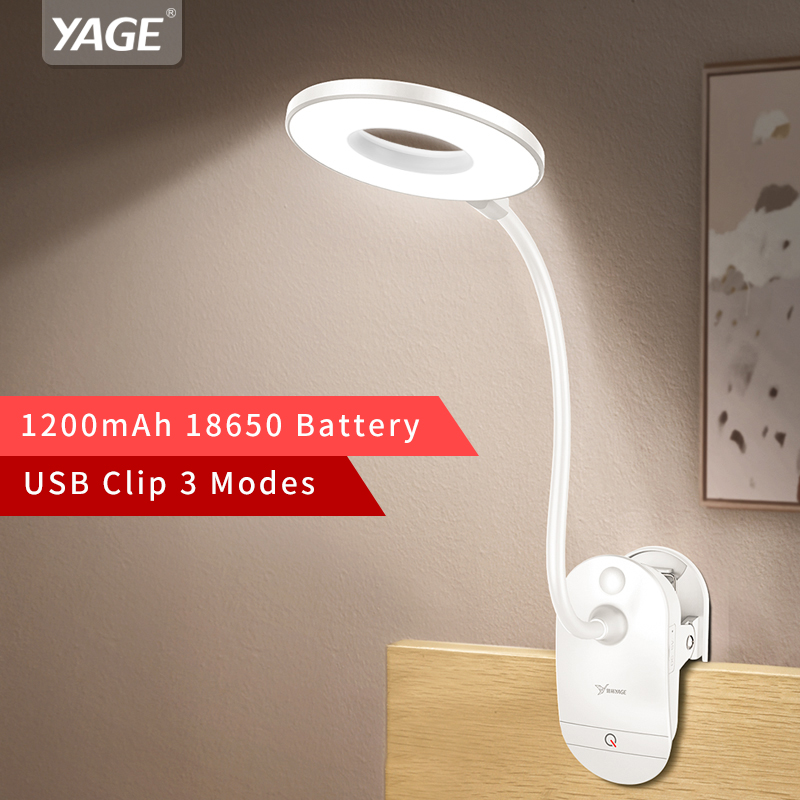 YAGE 18650 LED Touch On/interruptor 3 modos Clip lámpara de escritorio 7000 K protección de ojo lectura regulador recargable USB Led lámparas de mesa