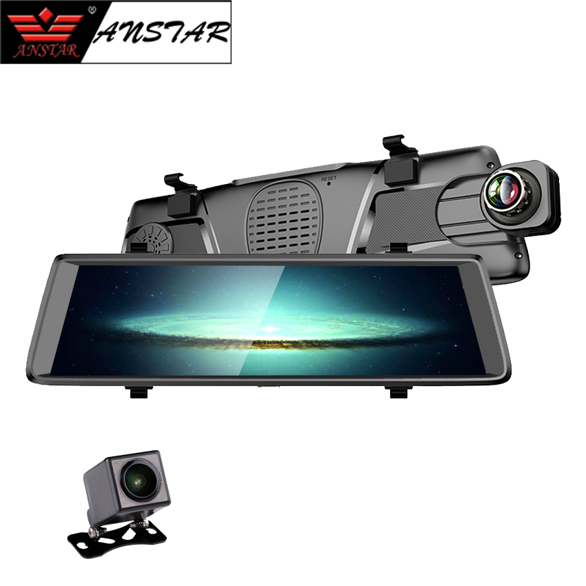 Anstar 10″ 3G Car DVR Touch Screen Car Recorder Dvrs WiFi Remote Monitor Rear View Mirror with Android Dual Lens 1080P Dashcam