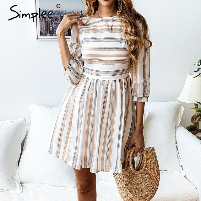Simplee Women summer cotton dress elegant Striped O neck A-line short vestidos feminino Casual holiday beach dresses 2019