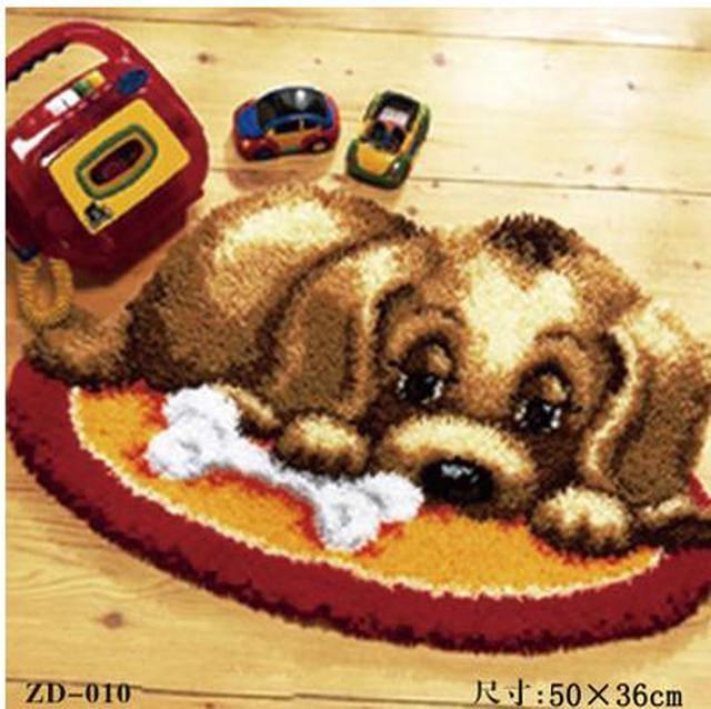 Filhote de cachorro bonito Tapete do Gancho da Trava Kits de Crochê cão Tapeçaria de Parede Fio Almofada do sofá Definido para Bordado Tapete Tapete Casa Decoração Tapete