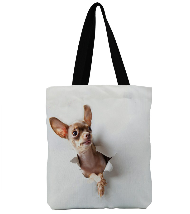 3D Double-Sided Printing Canvas Tote Bag Handmade Cotton Hole Chihuahua School Travel Handbags Shopping Bags-03