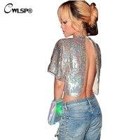 CWLSP Chic Zurück Split T shirt Frauen Perspektive Glanz Sequin stoff t-shirt O-ansatz Backless Aushöhlen Split Frauen Tops QZ2140