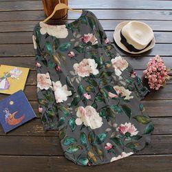 Słodki kwiat wzór druku Mini na co dzień Sukienka bawełniana dla kobiet O Neck kwiat Sukienka Vestidos Sukienka W Kwiaty Sukienki M ~ 5XL 5