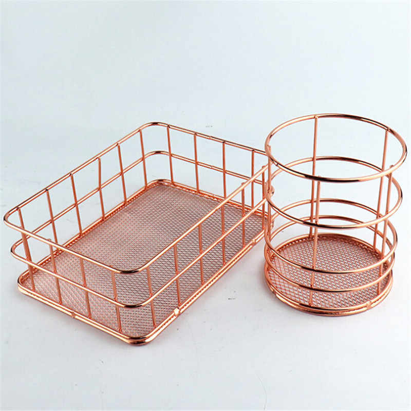 Rose Gold Metal Desktop Storage Baskets Sundries Underwear Toy Storage Box Stationery Office Makeup Storage Baskets