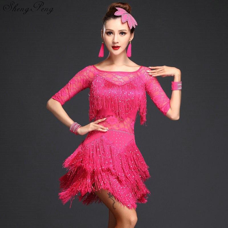 Robes de concours de salle de bal tango adulte rouge costumes de danse latine femmes salsa dancewear danse costume robes V975