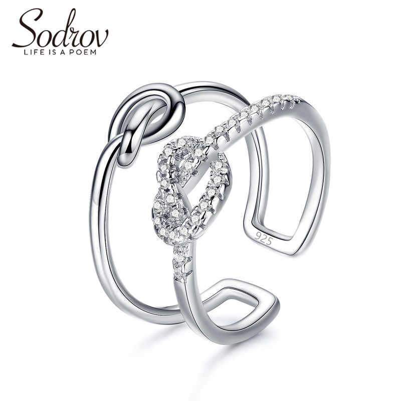 SODROV knot Ring Genuine 925 Sterling Silver Open Engagement Jewelry for women HR045 Personalized