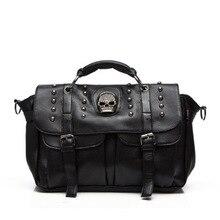 2017 Women Messenger Bags Designer Motorcycle Punk Style Skull Rivet Tote Bag Crossbody Bags for LadiesLeather HandBags AB0060