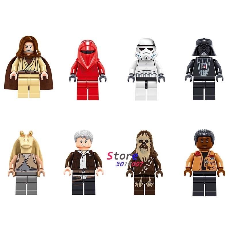 Single Star wars Stormtooper Han Solo Darth Vader Renobi Chewbacca Jar Jar Binks obi wan Figure building block toys for children