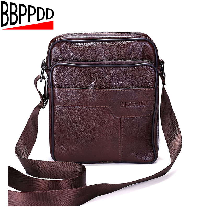 BBPPDD men bag genuine leather crossbody messenger bags men's shoulder men bag flap zipper vintage coffee crossbody bag crossbody bowler bag