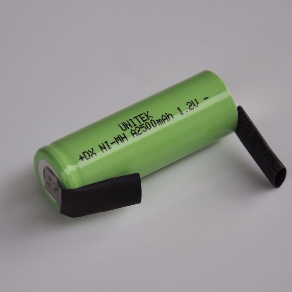 1-4PCS 1.2V ni-mh rechargeable A <font><b>battery</b></font> 2500mah 17500 A SIZE nimh cell with welding tabs for Braun <font><b>Oral</b></font>-<font><b>B</b></font> electric toothbrush image