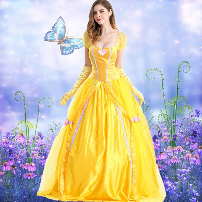 S-XXL Halloween Adult Yellow Fantasias Princess Cosplay Costume Girl Dress Party Carnival Fancy Costume