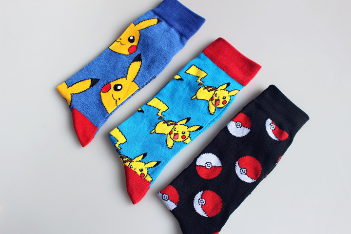 Pokemon GO Knee-High Socks Women Men Cosplay Cotton Calf Sock Pikachu Socks Poke Ball Antiskid Sports Casual Socks