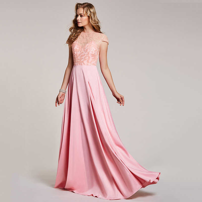 Image 4 - Dressv pink evening dress cheap scoop neck a line beading cap sleeves floor length wedding party formal dress evening dresses-in Evening Dresses from Weddings & Events