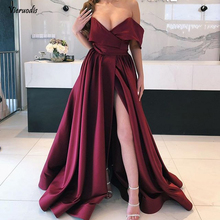 Robe longue femme soiree Burgundy Evening Dresses 2019 Custom Made Plus Size A Line Long Gown Sexy Slit