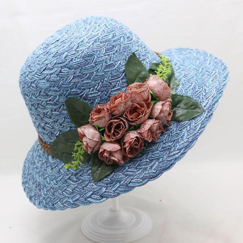 SUOGRY 2018 Design de Moda Mulheres Flor Dobrável Chapéu de Sol de Abas  Largas chapéu de 0b740f5d65a