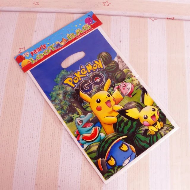 Party Supplies 10PCS Birthday Cartoon Pokemon Decoration Plastics Gift Bag Candy In Bags Wrapping From Home Garden On