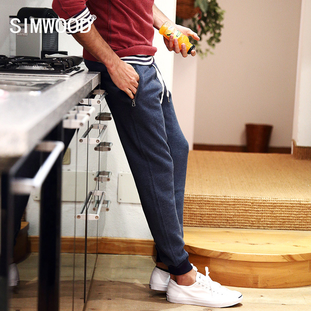 Simwood Men 2016 Brand Autumn  Sweatpants Male Cotton Harem Pants Pocket Casual Mens Solid Trousers For Men