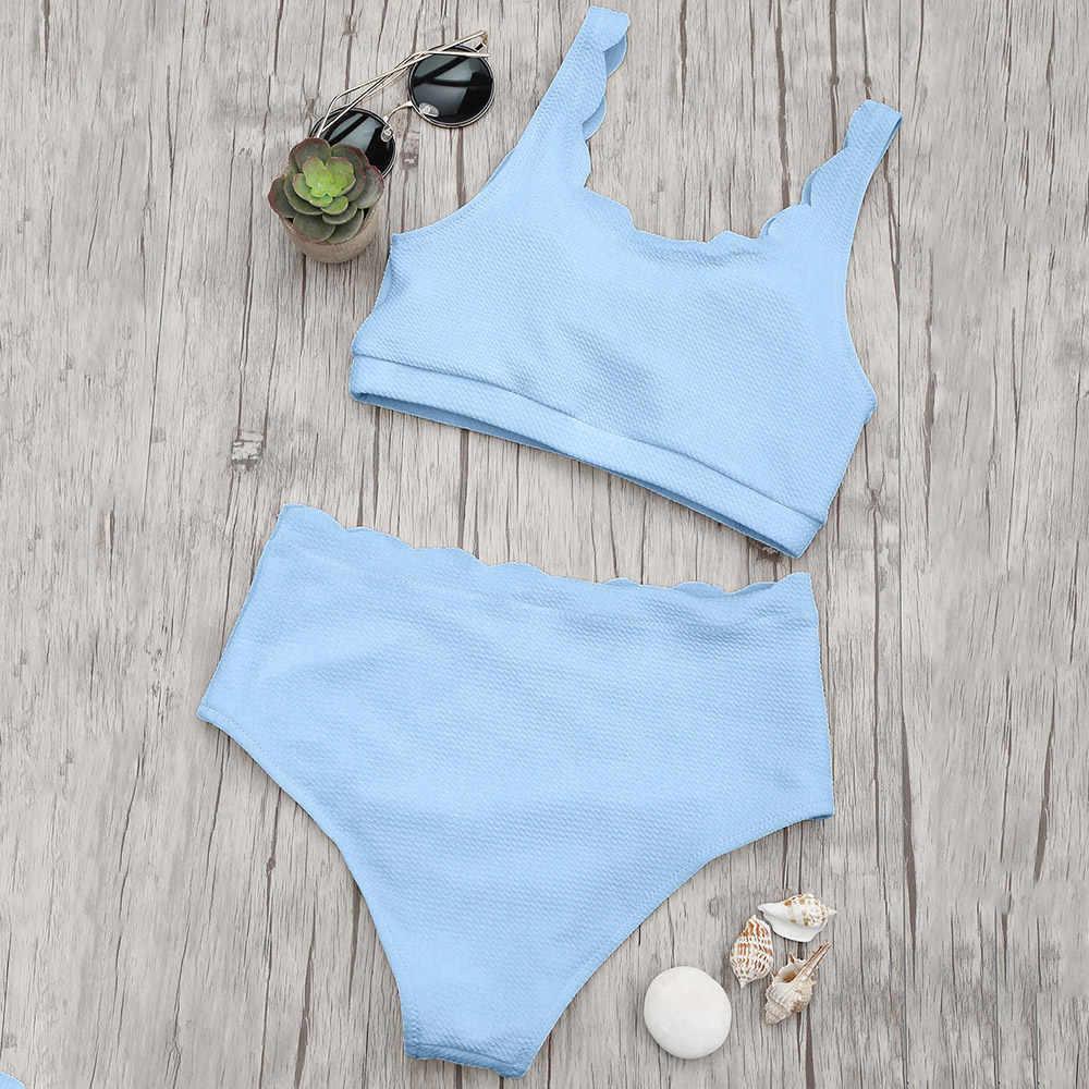 452a0f2dff0 ... ZAFUL 2019 High Waisted Women Swimsuit Scalloped Bralette Bikini Set  Swimwear Solid Color Summer Beach Bathing ...