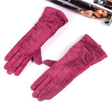 "28cm 11"" Womens Ladies Genuine leather Suede Leather Middle long Folded gloves Party Evening gloves"