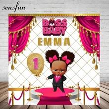 Sensfun Boss Baby Dusche 1st Geburtstag Partei Hintergrund Für Mädchen Heißer Rosa Weiß Gold Thema Hintergründe Für Foto Studio 7x5FT