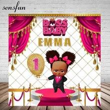 Sensfun Boss Baby Shower 1 urodziny tło imprezowe dla dziewczynek gorący różowy biały złoty motyw tło do zdjęć Studio 7x5FT