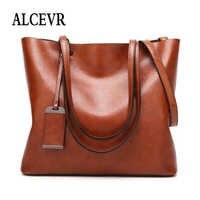 ALCEVR Мягкие Сумки из искусственной кожи однотонные сумки на плечо высокой емкости для женщин женские повседневные сумки женские сумки через...