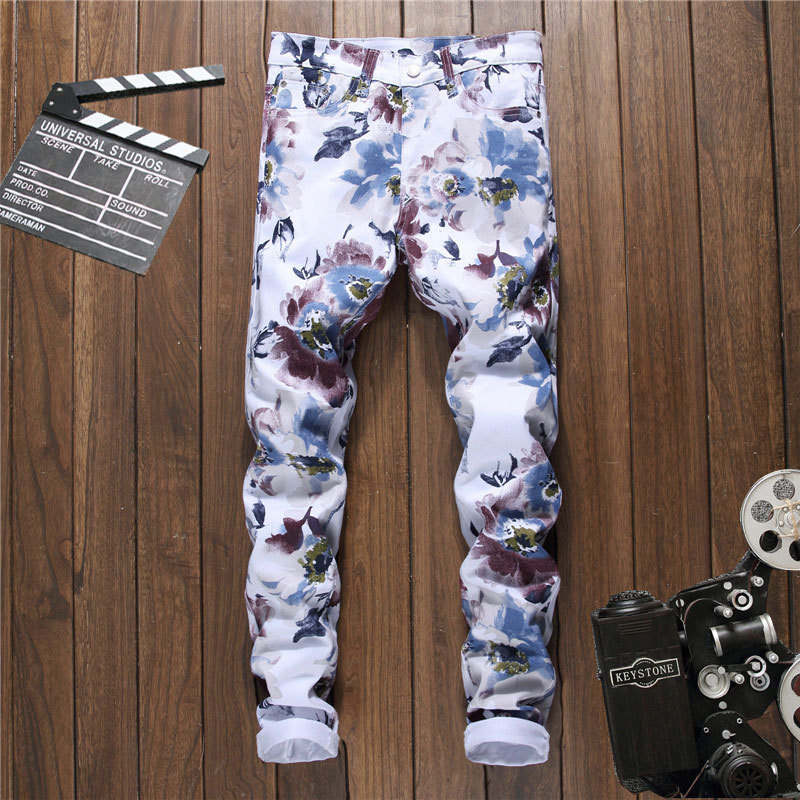 new printed trousers cultivate young man without playing long trousers fashion casual pants wet pants 5009 nightclub