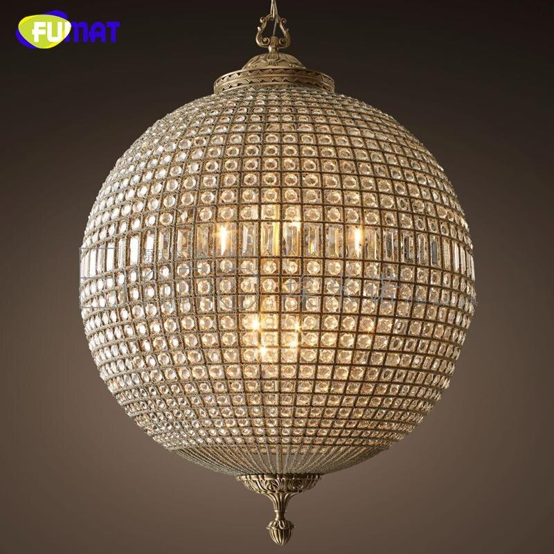 FUMAT modern led Lustres Americano Do Vintage Bola de Cristal lâmpada para Sala de estar da Sala de Jantar Bar iluminação Da Arte Decoração para casa