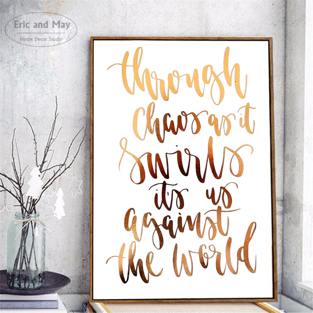 Motivational Gold Letters Painting Poster Print Decorative Wall Pictures For Living Room No Frame Home Decoration Accessories in Painting Calligraphy from Home Garden
