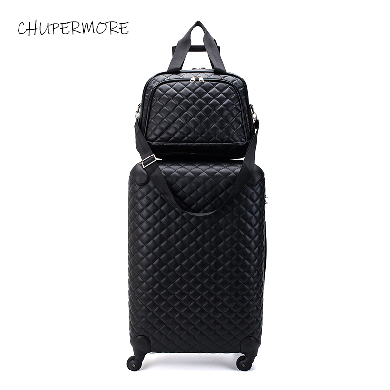 Chupermore Retro PU Leather Rolling Luggage Set Spinner Women 28 Inch High Capacity Suitcase Wheels 16 Inch Cabin Trolley