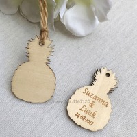 65 200pcs Personalized Engraved Wedding Name Date Wooden Pineapple Tags Wedding Party Favors Decorations