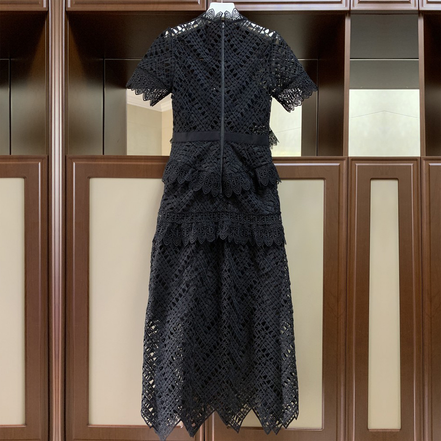 Élégant Dentelle Robes Noir Vacances Femme Sexy Printemps Évider Haute Vintage Conduites 2019 Taille Designer Carburant De Partie Patchwork Rzxw4C