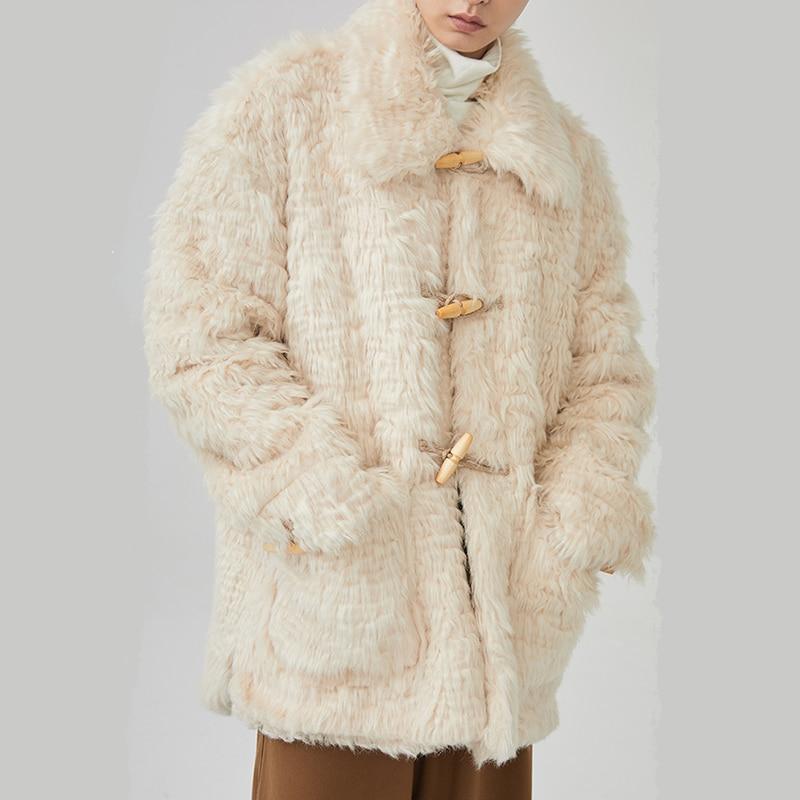 En D'agneau Épais rembourré Ji860 Chaud Laine Printemps Parkas Corne eam Manteau Femmes Longues Coton Manches Revers Mode Boucle 2019 Nouveau qCwOv8
