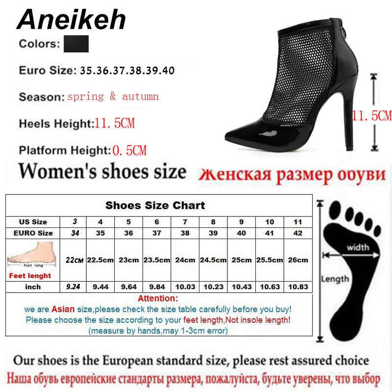 Aneikeh Örgü Kadın yarım çizmeler 2019 Sonbahar ZIP Sivri Burun Stilettos Ayakkabı Moda Seksi Chelsea Çizmeler Pompaları Boyutu 35-40 siyah
