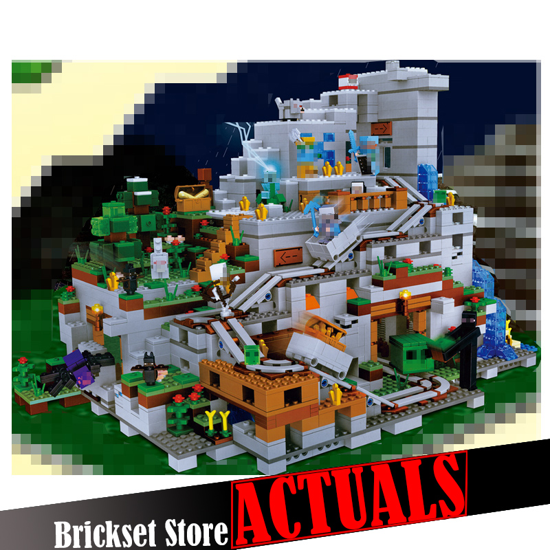 2659PCS My World Minecraft The Mountain Cave Anime Figures Building Block Bricks Toys For Children Similar With 21137 legoingly lepin 404pcs my world the jungle temple minecraft model kit anime action figure building block bricks hot toy for children 21132