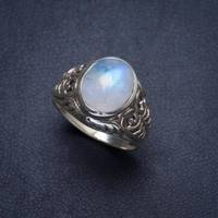 Natural Moonstone Handmade Unique 925 Sterling Silver Ring 8 Y4060