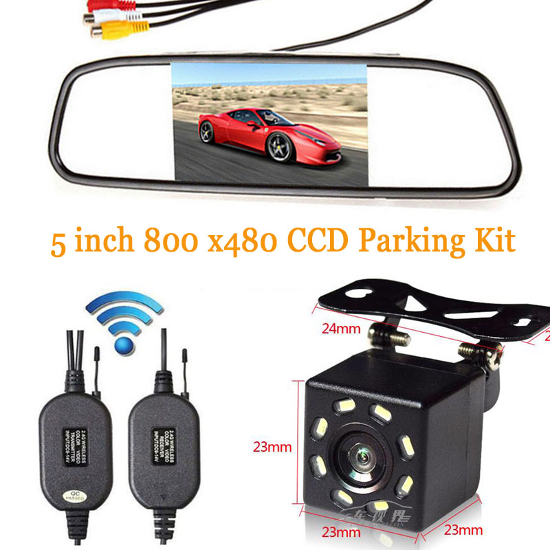 Hd 5 Cal Car Rear View Monitor TFT LCD Color Digital Screen with 2 Inputs Video + Wireless Night Vision LED Backup Back Camera