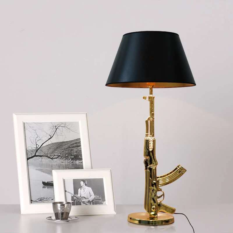 Golden AK47 Musket Table <font><b>Lamps</b></font> Decor Home Nordic Led Table Bedroom <font><b>Lamp</b></font> Living Room Study Luminaire Living Room <font><b>Lamp</b></font> <font><b>Stand</b></font> image