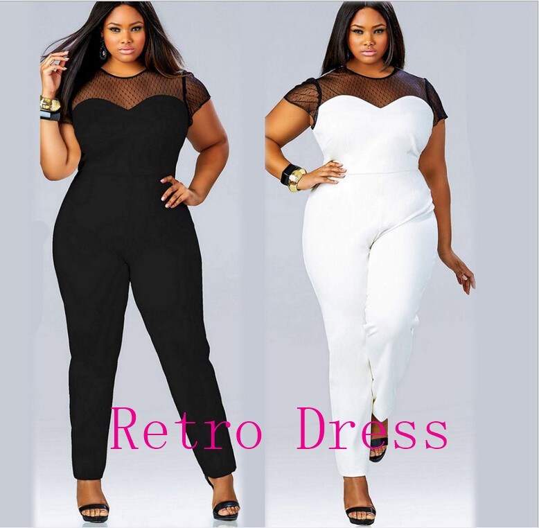 Women Clubwear V Neck Playsuit Bodycon Party Jumpsuit Mesh size fashion sexy stitching short sleeved Jumpsuit Plus Size 3XL