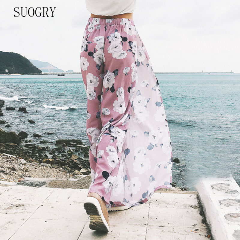 SUOGRY High Split Stripe Wide Leg   Pants   Women Summer Beach Trousers Chic Streetwear Sash Casual   Pants     Capris   Female
