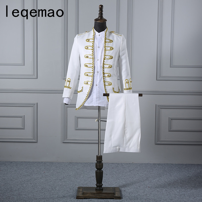 2019 European Style Court Dress Men's Suits White Slim Blazers Pants Set Wedding Groom Dress Singer Chorus Host S