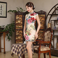 New Cheongsam Chinese Traditional Dress Silk Satin Short Sleeve Stand Neck Qipao Chinese Party Dresses