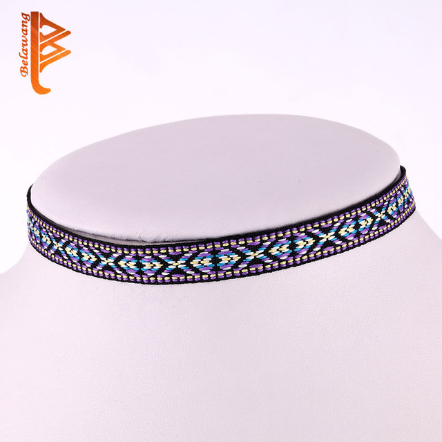 Leather Choker Necklace Women Fashion Accessories Printed Flower Bohemian